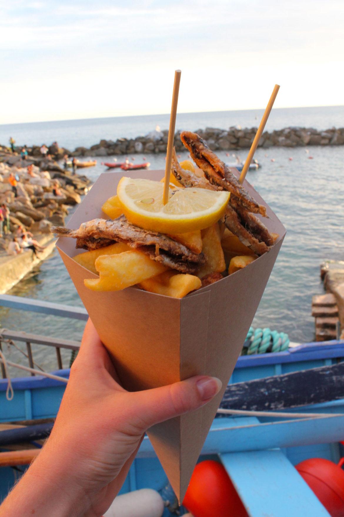 Seafood cone in Riomaggiore