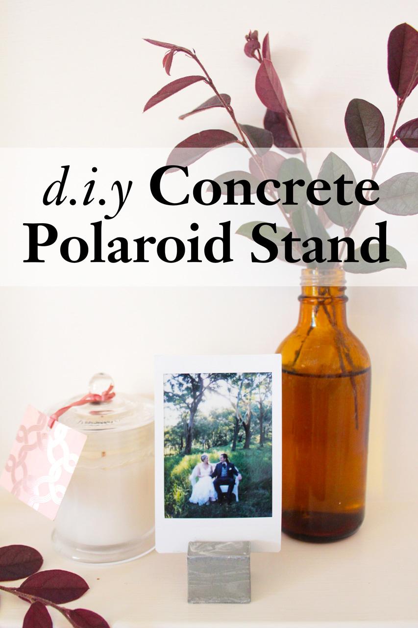 diy concrete polaroid stand