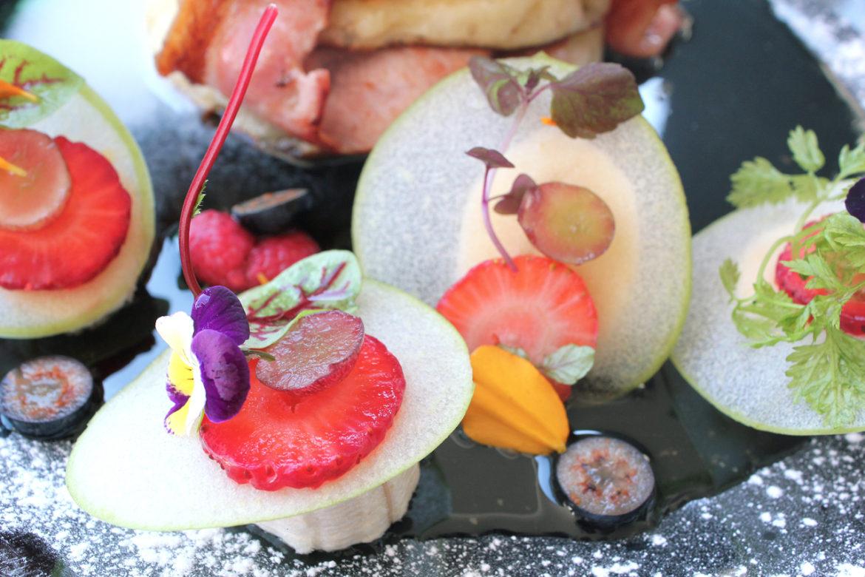 pancake presentation and edible flower garnish