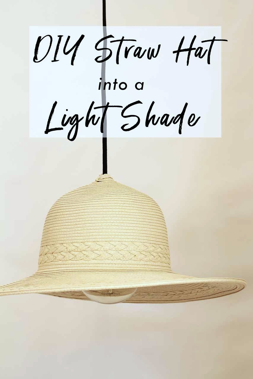 Turn a spare straw hat into a hanging light feature