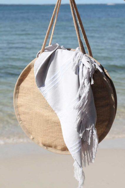 DIY Round Burlap Beach x Market Bag