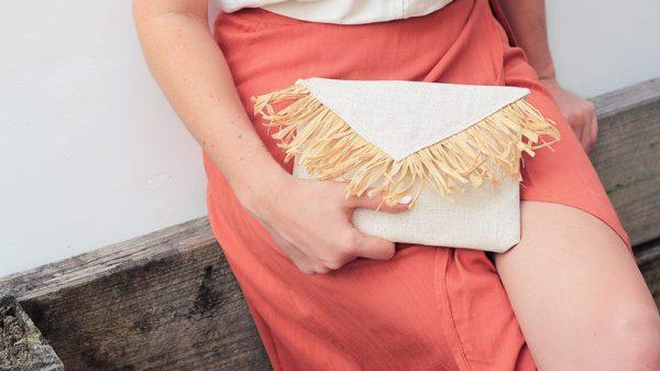 Featured DIY raffia fringed clutch