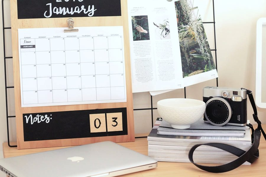 DIY Plywood Calendar and blog goals | Dossier Blog