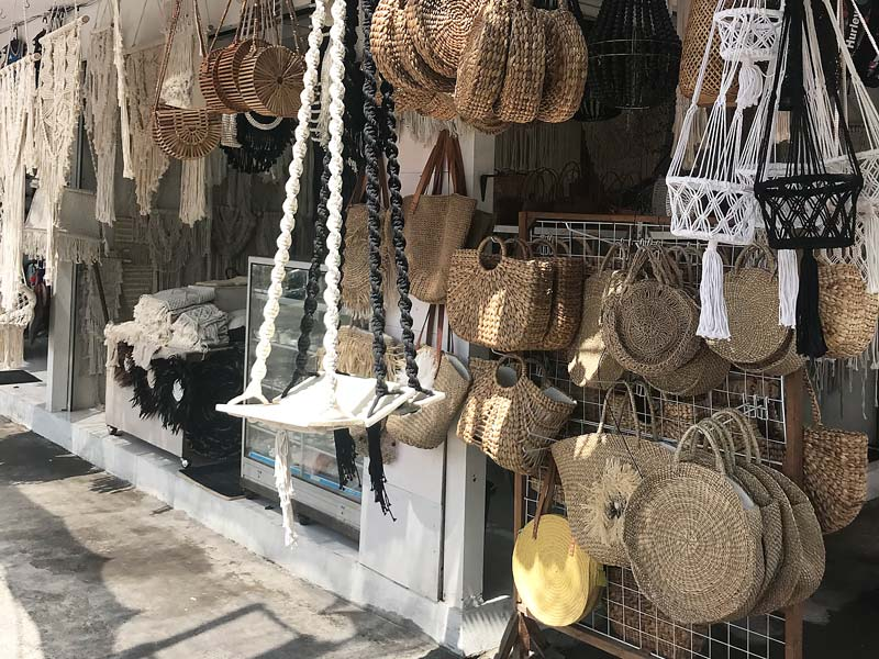 The handicrafts on offer in Bali - macrame, bags, pendant lights and more