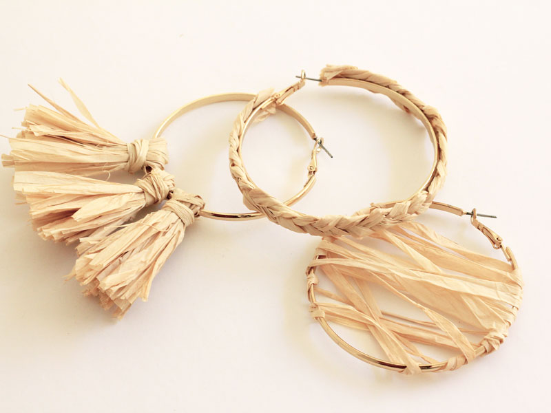 Three ways to DIY raffia hoop earrings