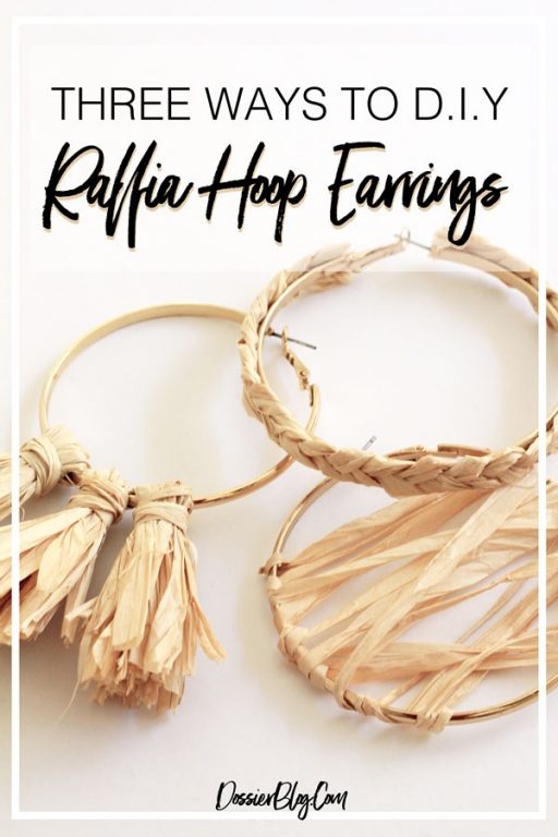 Three ways to DIY raffia hoop earrings. Update a simple pair of hoops in 10 minutes!