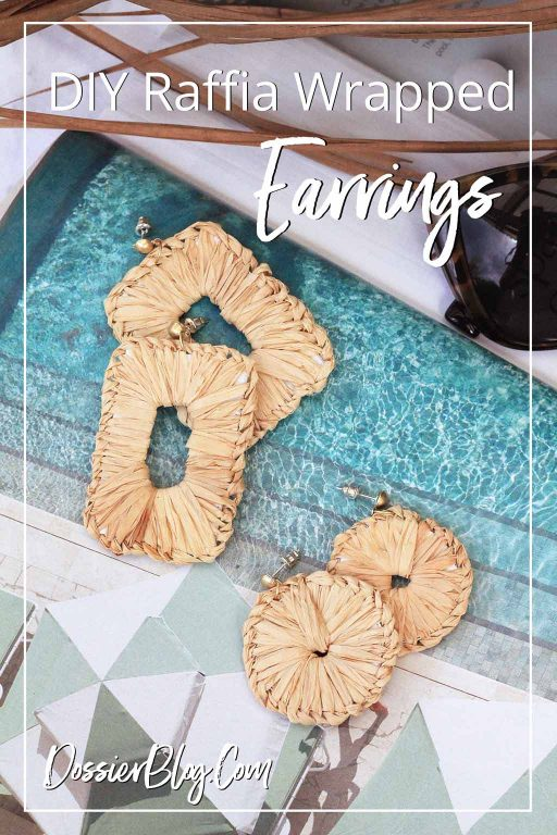 How to make these easy tropical earrings out of woven and wrapped raffia | Dossier Blog