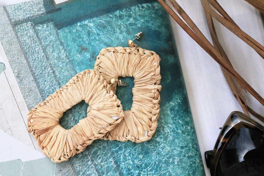 DIY Rectangle raffia wrapped earrings | Dossier Blog