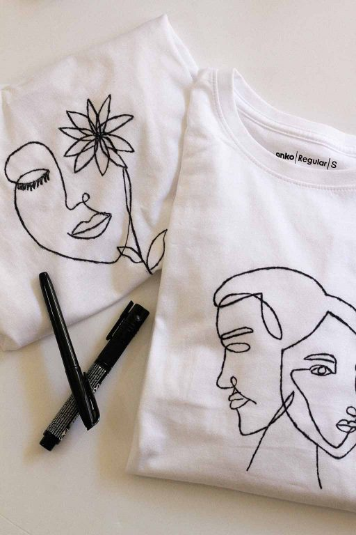 DIY Line art t-shirt with faces & free templates | Dossier Blog