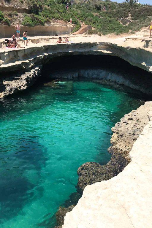 St Peter's pool is a popular swimming spot around 2km walk from Marsaxlokk | Dossier Blog