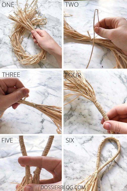 Step-by-step photo tutorial to make a raffia door tassel | Dossier Blog