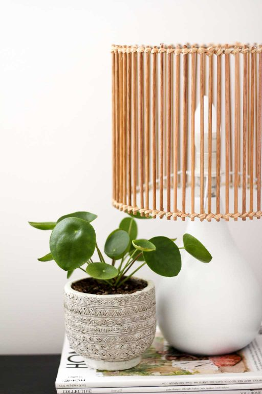 Upcycle an old lamp to a rattan, boho style timber shade | Dossier Blog